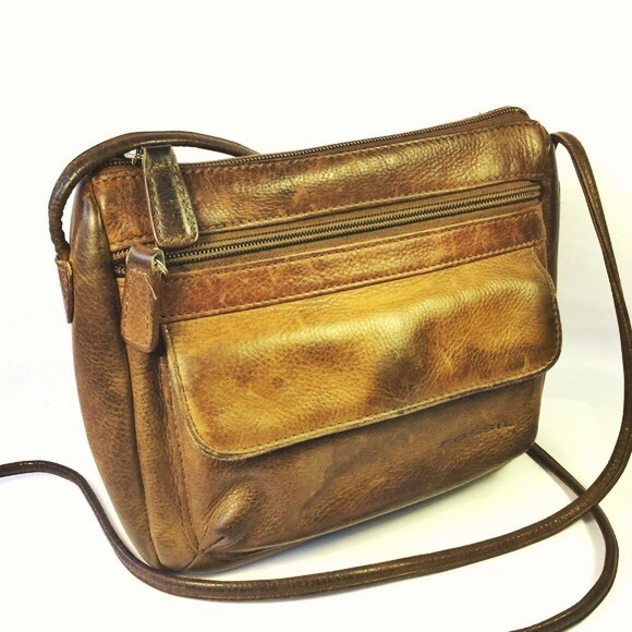 Fossil Handbags - Fossil Brown Leather Crossbody Purse Bag